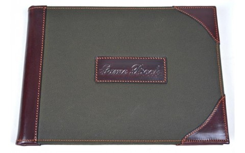 Game book canvas leder green