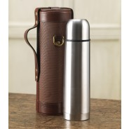 Purdey Thermos Flask With Carry Case In Chequer Leather