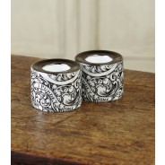 Purdey Pair Of Tea Lights With Gun Scroll Design