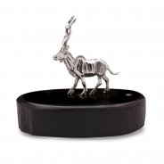 Patrick Mavros Kudu Bull Silver Miniature on Blackwood Base